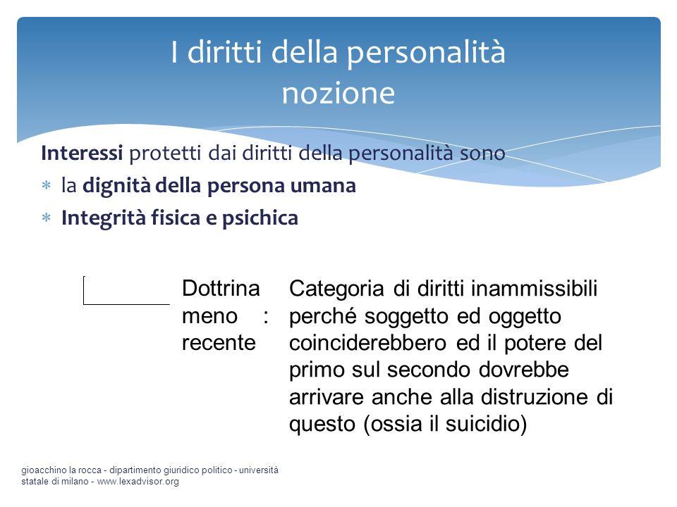 Interessi protetti dai diritti della personalità sono la dignità della persona umana Integrità fisica e psichica gioacchino la rocca - dipartimento gi