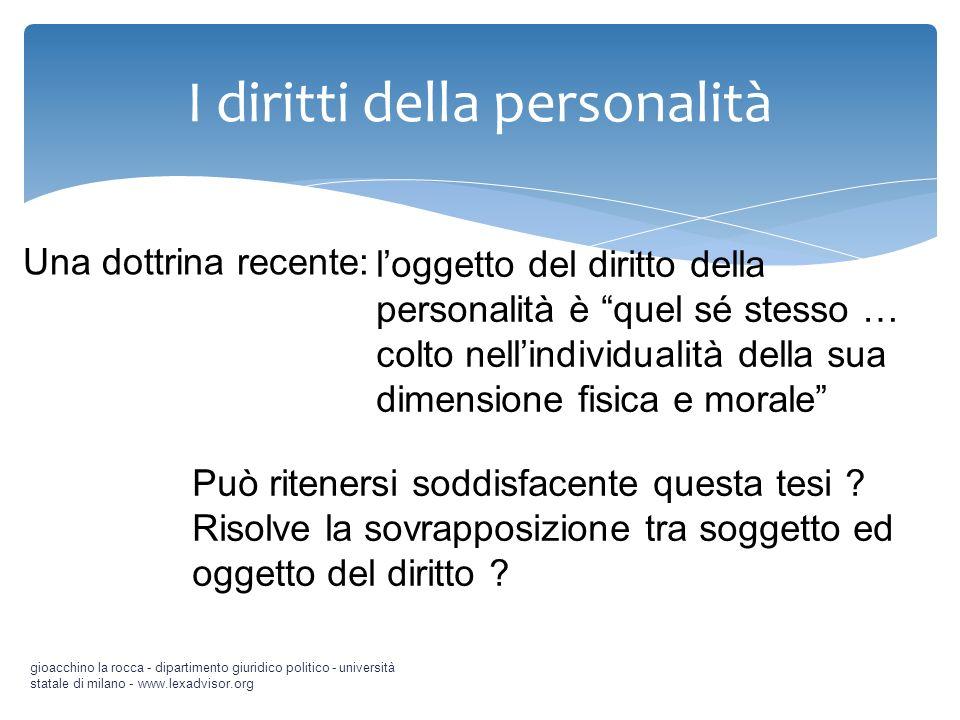 I diritti della personalità gioacchino la rocca - dipartimento giuridico politico - università statale di milano - www.lexadvisor.org Una dottrina rec
