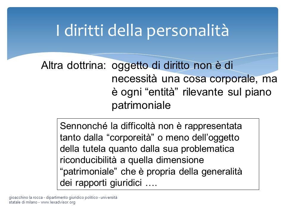 I diritti della personalità gioacchino la rocca - dipartimento giuridico politico - università statale di milano - www.lexadvisor.org Sennonché la dif
