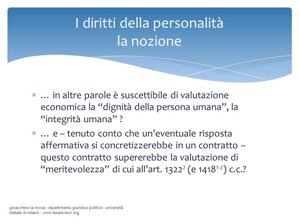 … in altre parole è suscettibile di valutazione economica la dignità della persona umana, la integrità umana ? … e – tenuto conto che uneventuale risp