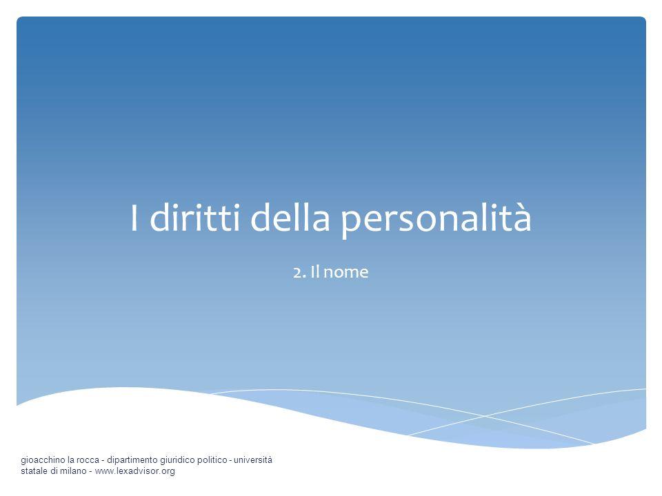 I diritti della personalità 2. Il nome gioacchino la rocca - dipartimento giuridico politico - università statale di milano - www.lexadvisor.org