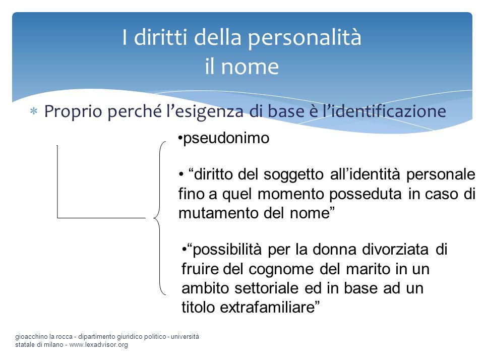 Proprio perché lesigenza di base è lidentificazione gioacchino la rocca - dipartimento giuridico politico - università statale di milano - www.lexadvi