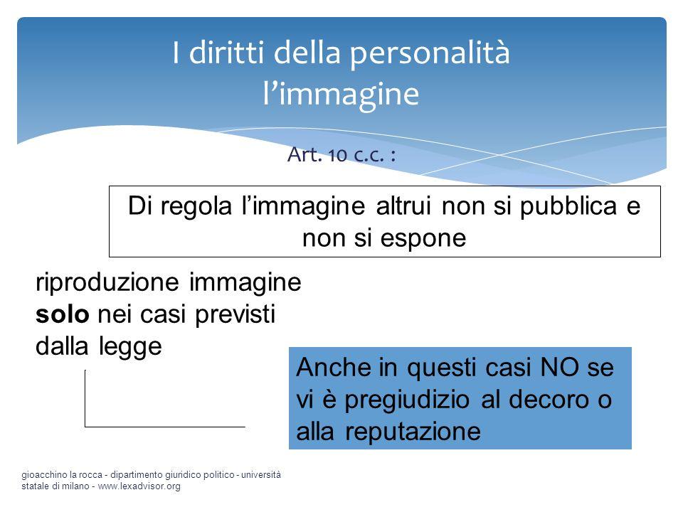 Art. 10 c.c. : gioacchino la rocca - dipartimento giuridico politico - università statale di milano - www.lexadvisor.org I diritti della personalità l