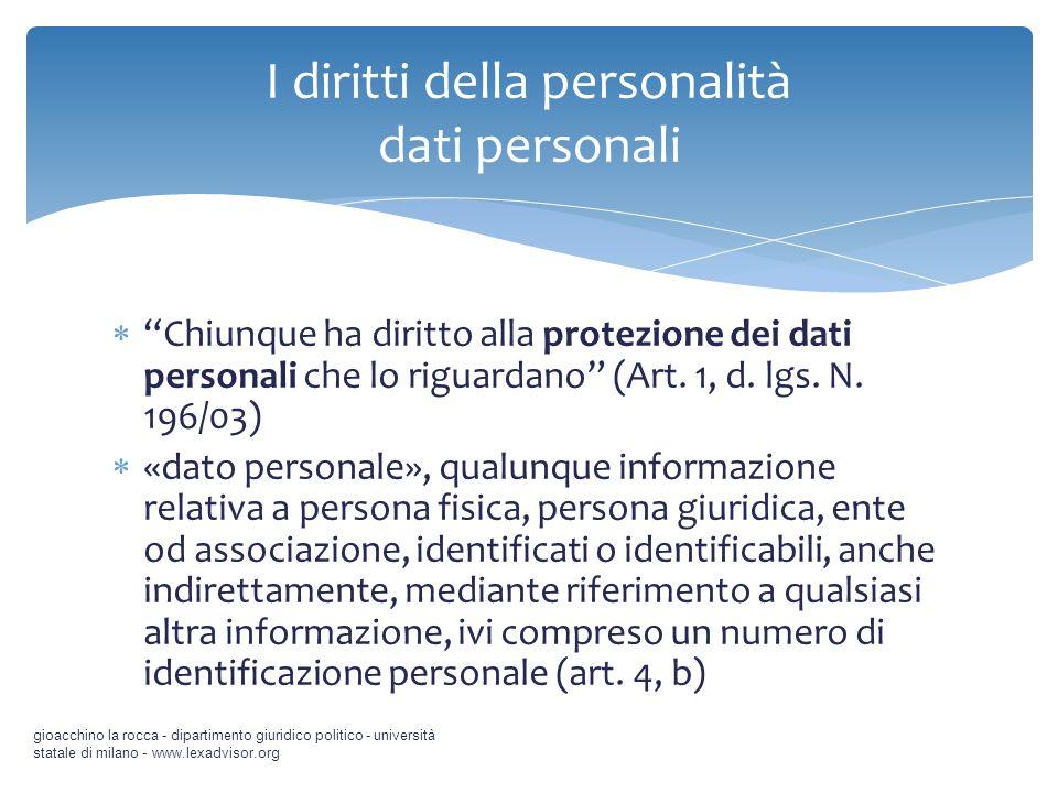 Chiunque ha diritto alla protezione dei dati personali che lo riguardano (Art. 1, d. lgs. N. 196/03) «dato personale», qualunque informazione relativa