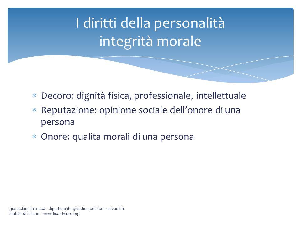 Decoro: dignità fisica, professionale, intellettuale Reputazione: opinione sociale dellonore di una persona Onore: qualità morali di una persona gioac
