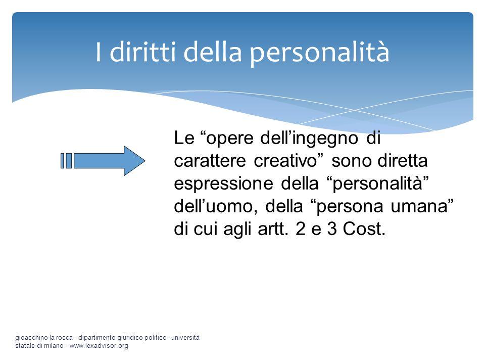 I diritti della personalità gioacchino la rocca - dipartimento giuridico politico - università statale di milano - www.lexadvisor.org Le opere delling