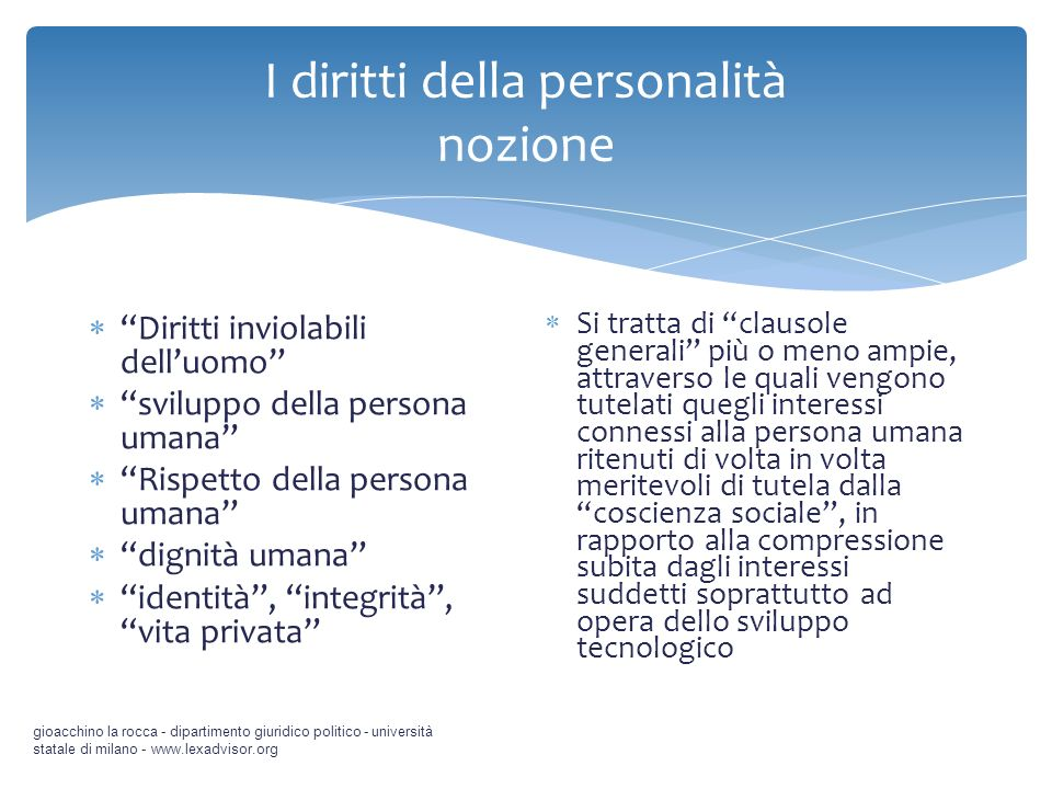gioacchino la rocca - dipartimento giuridico politico - università statale di milano - www.lexadvisor.org Diritti inviolabili delluomo sviluppo della