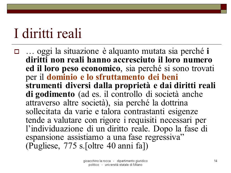 gioacchino la rocca - dipartimento giuridico politico - università statale di Milano 14 I diritti reali … oggi la situazione è alquanto mutata sia per