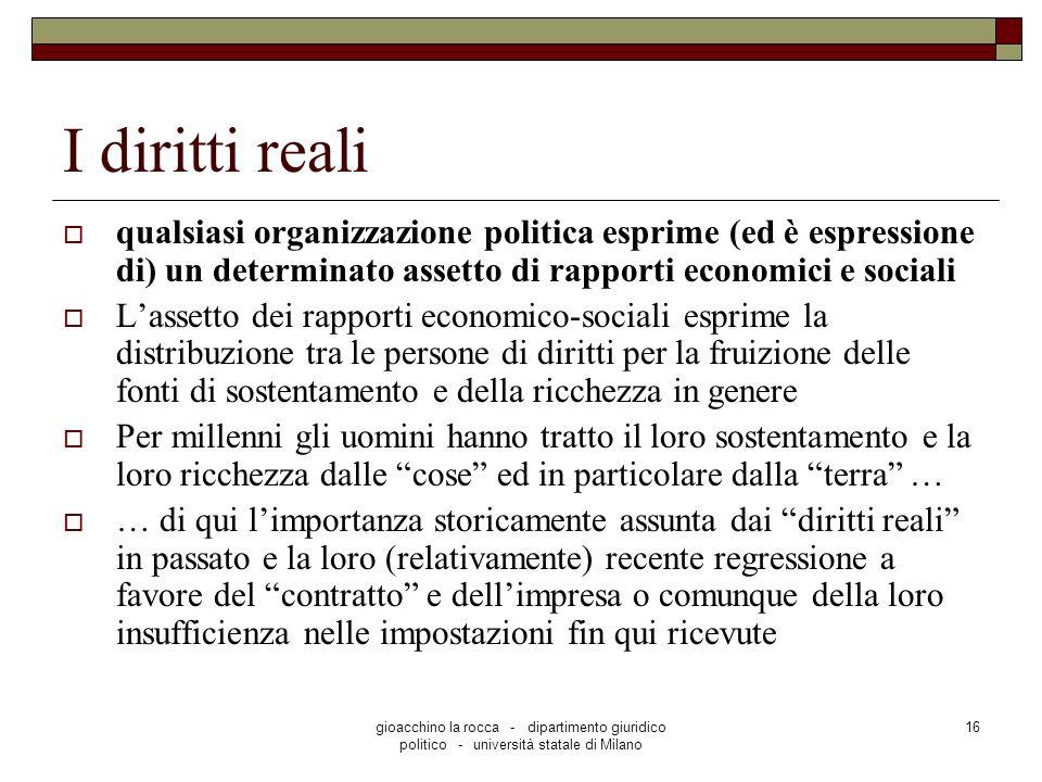 gioacchino la rocca - dipartimento giuridico politico - università statale di Milano 16 I diritti reali qualsiasi organizzazione politica esprime (ed