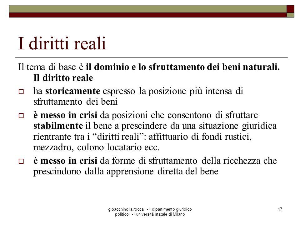 gioacchino la rocca - dipartimento giuridico politico - università statale di Milano 17 I diritti reali Il tema di base è il dominio e lo sfruttamento dei beni naturali.