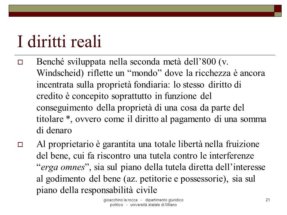gioacchino la rocca - dipartimento giuridico politico - università statale di Milano 21 I diritti reali Benché sviluppata nella seconda metà dell800 (v.