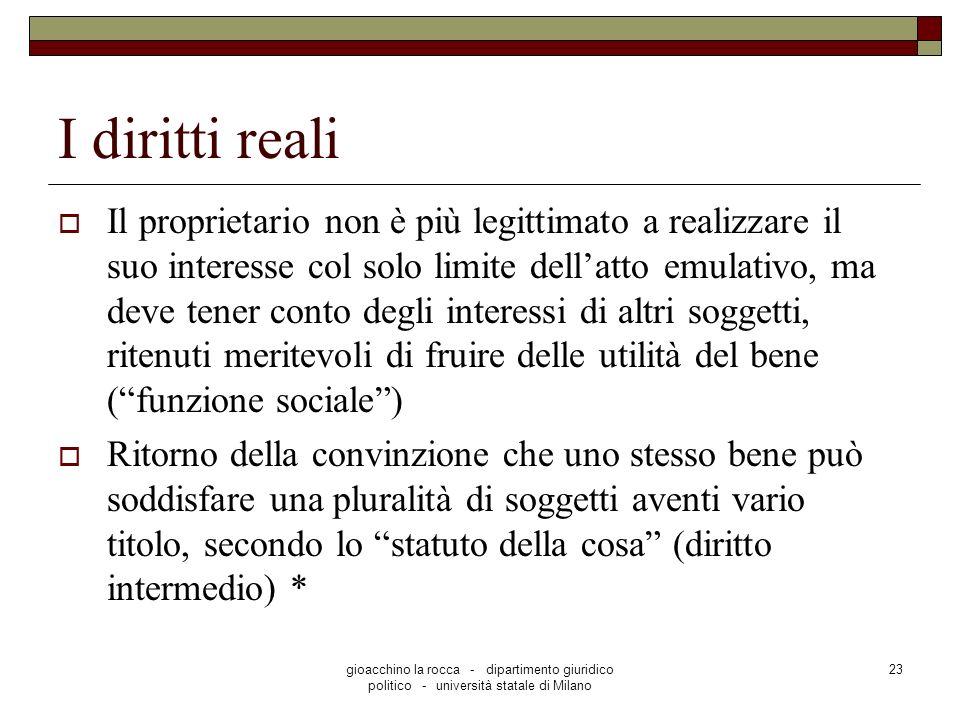 gioacchino la rocca - dipartimento giuridico politico - università statale di Milano 23 I diritti reali Il proprietario non è più legittimato a realiz