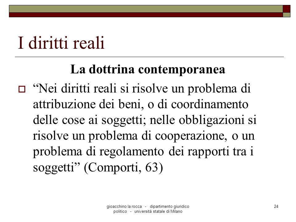 gioacchino la rocca - dipartimento giuridico politico - università statale di Milano 24 I diritti reali La dottrina contemporanea Nei diritti reali si