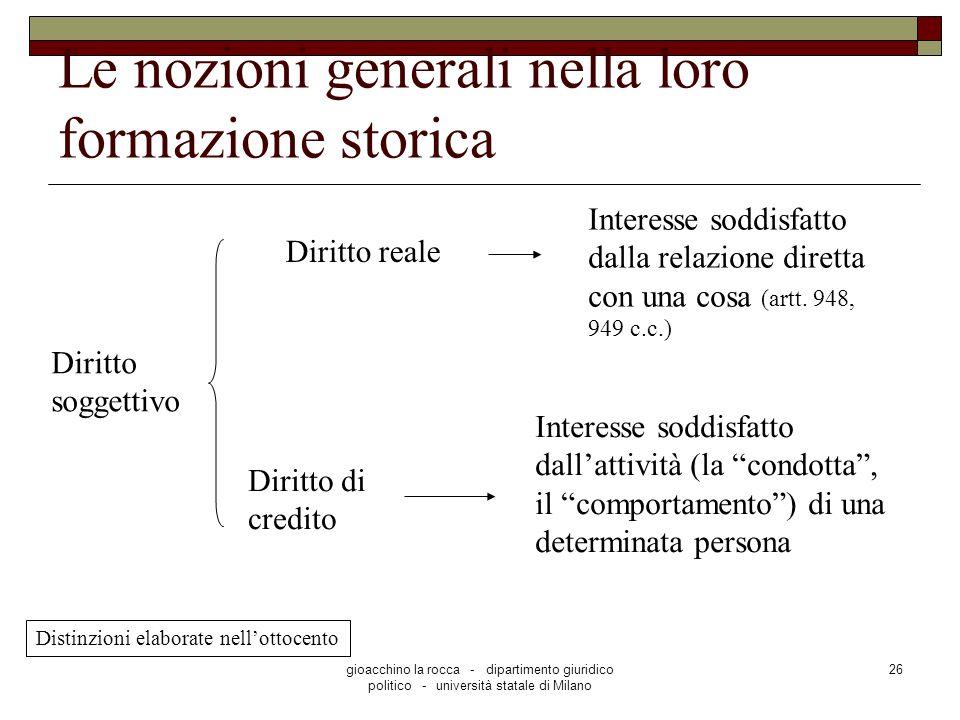 gioacchino la rocca - dipartimento giuridico politico - università statale di Milano 26 Le nozioni generali nella loro formazione storica Diritto sogg