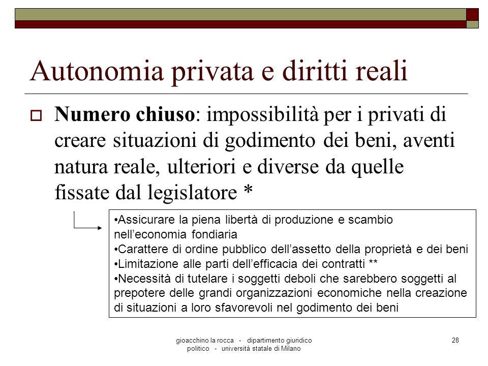 gioacchino la rocca - dipartimento giuridico politico - università statale di Milano 28 Autonomia privata e diritti reali Numero chiuso: impossibilità