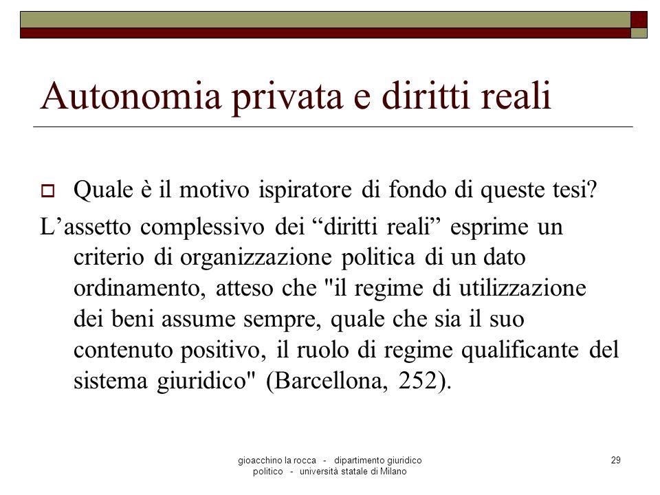 gioacchino la rocca - dipartimento giuridico politico - università statale di Milano 29 Autonomia privata e diritti reali Quale è il motivo ispiratore