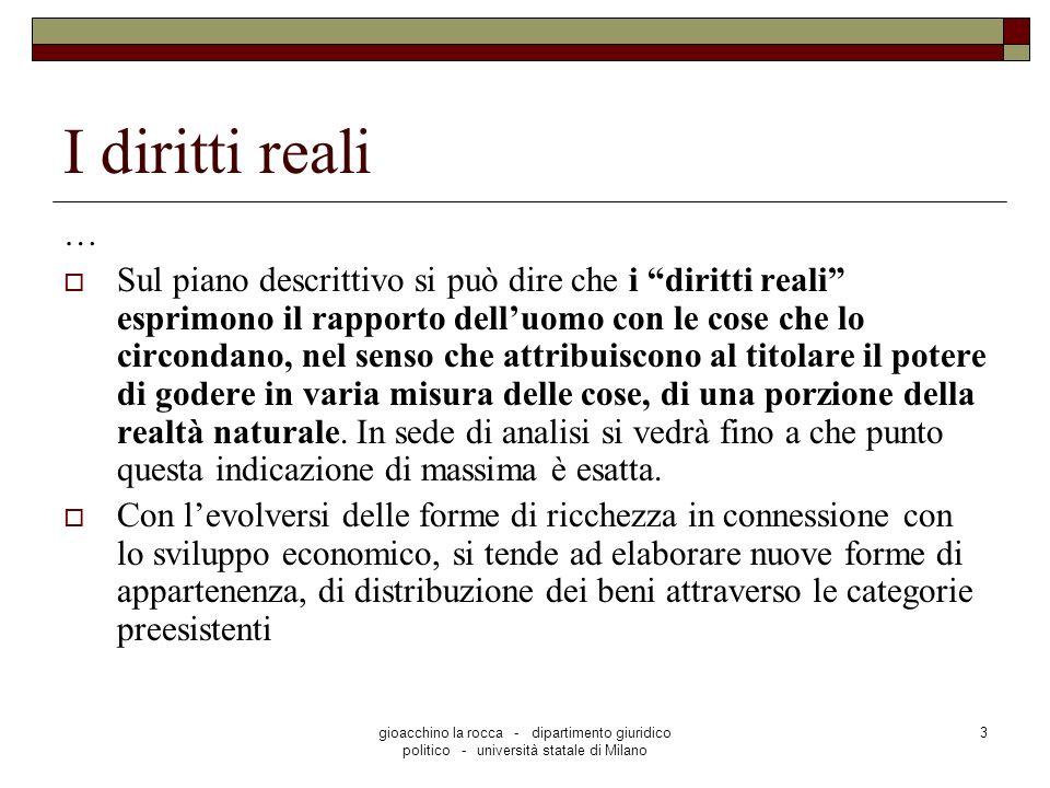 gioacchino la rocca - dipartimento giuridico politico - università statale di Milano 3 I diritti reali … Sul piano descrittivo si può dire che i dirit