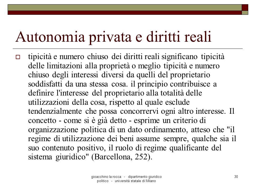 gioacchino la rocca - dipartimento giuridico politico - università statale di Milano 30 Autonomia privata e diritti reali tipicità e numero chiuso dei