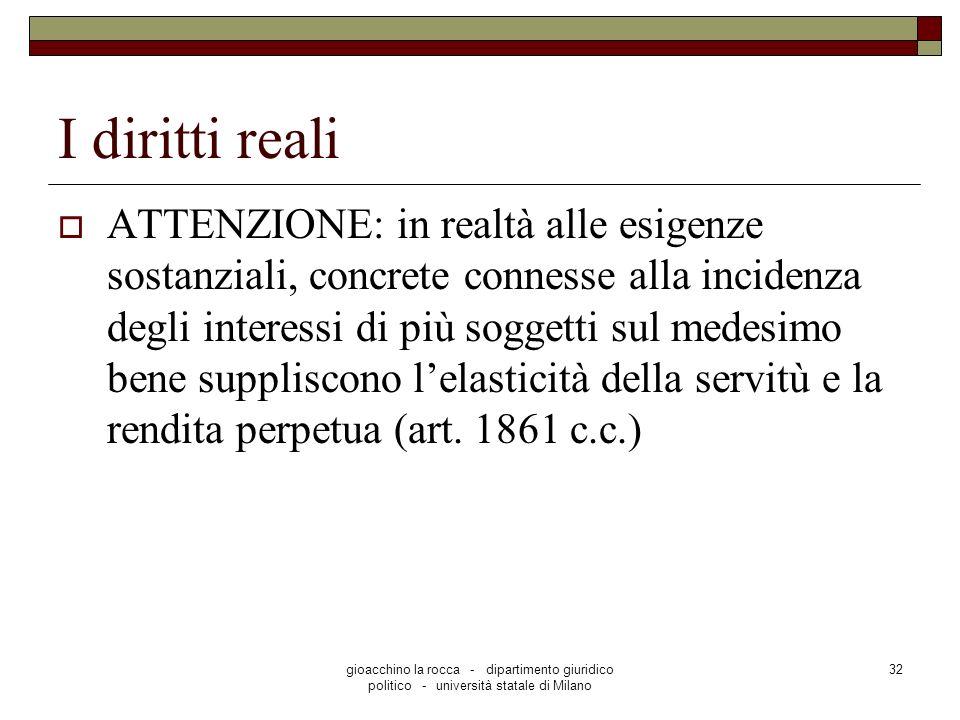 gioacchino la rocca - dipartimento giuridico politico - università statale di Milano 32 I diritti reali ATTENZIONE: in realtà alle esigenze sostanzial