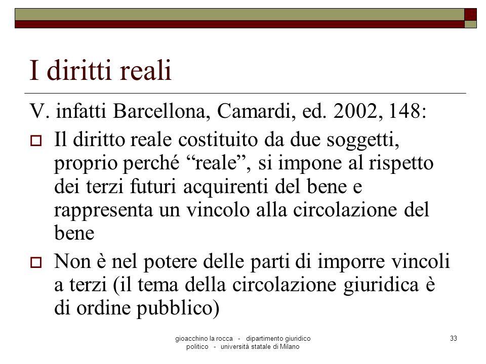 gioacchino la rocca - dipartimento giuridico politico - università statale di Milano 33 I diritti reali V. infatti Barcellona, Camardi, ed. 2002, 148: