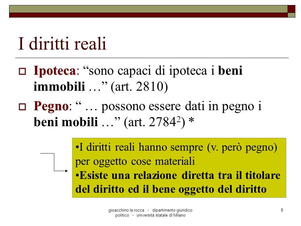 gioacchino la rocca - dipartimento giuridico politico - università statale di Milano 8 I diritti reali Ipoteca Ipoteca: sono capaci di ipoteca i beni immobili … (art.