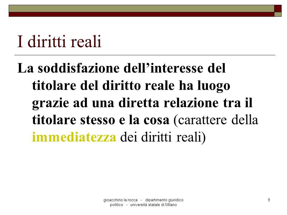 gioacchino la rocca - dipartimento giuridico politico - università statale di Milano 9 I diritti reali La soddisfazione dellinteresse del titolare del
