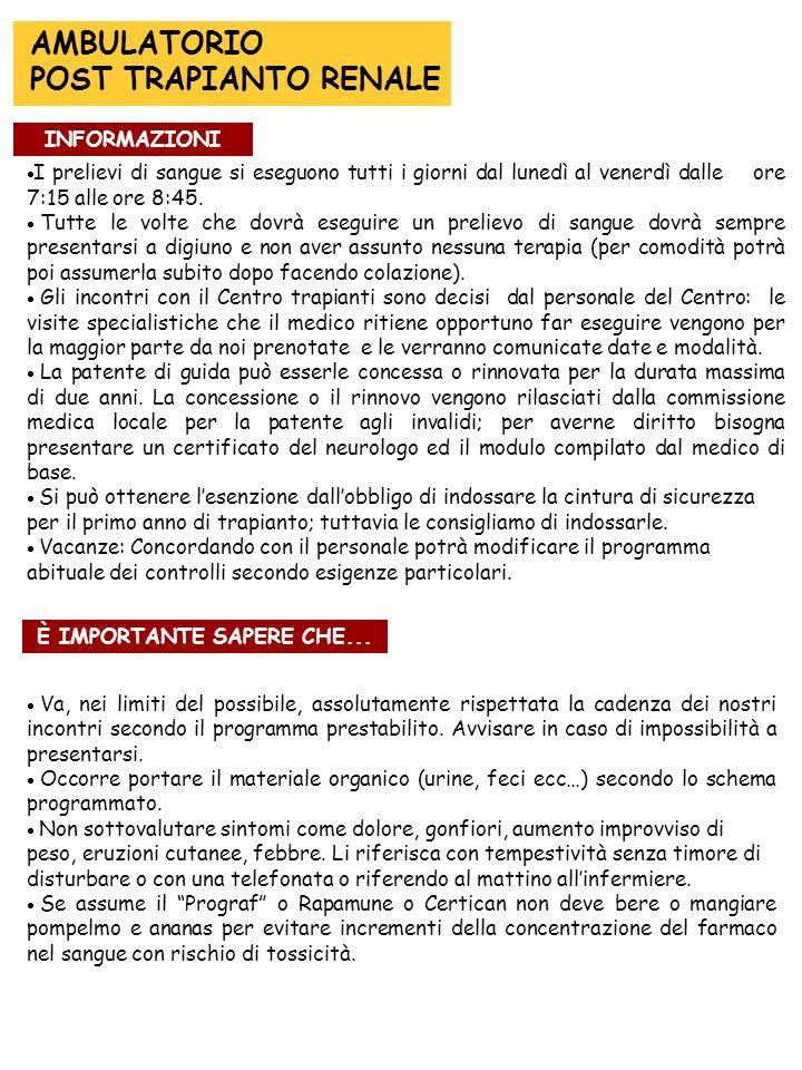 INFORMAZIONI È IMPORTANTE SAPERE CHE...