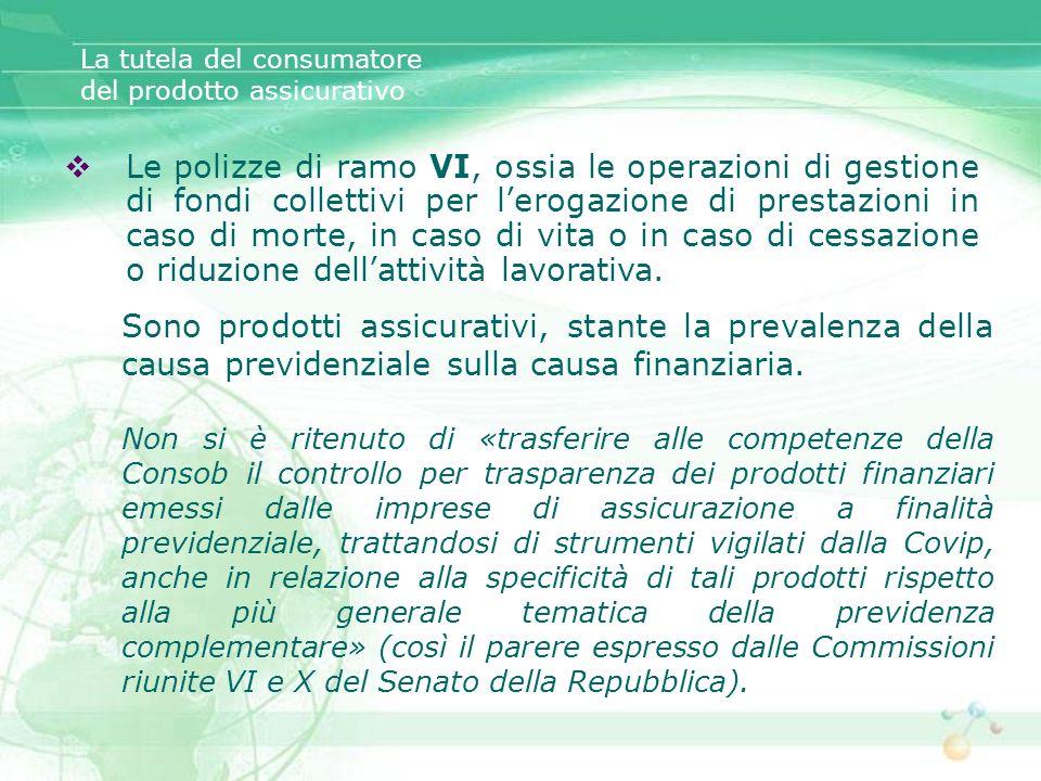 Le polizze di ramo VI, ossia le operazioni di gestione di fondi collettivi per lerogazione di prestazioni in caso di morte, in caso di vita o in caso
