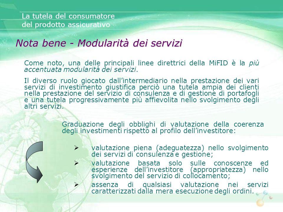 Come noto, una delle principali linee direttrici della MiFID è la più accentuata modularità dei servizi. Il diverso ruolo giocato dallintermediario ne