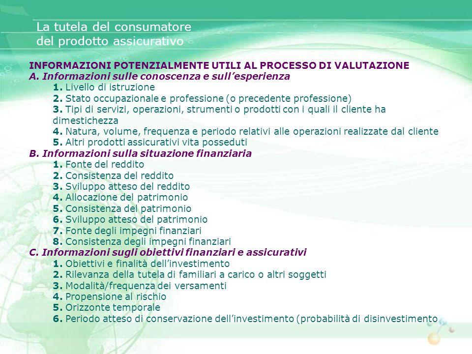 INFORMAZIONI POTENZIALMENTE UTILI AL PROCESSO DI VALUTAZIONE A. Informazioni sulle conoscenza e sullesperienza 1. Livello di istruzione 2. Stato occup