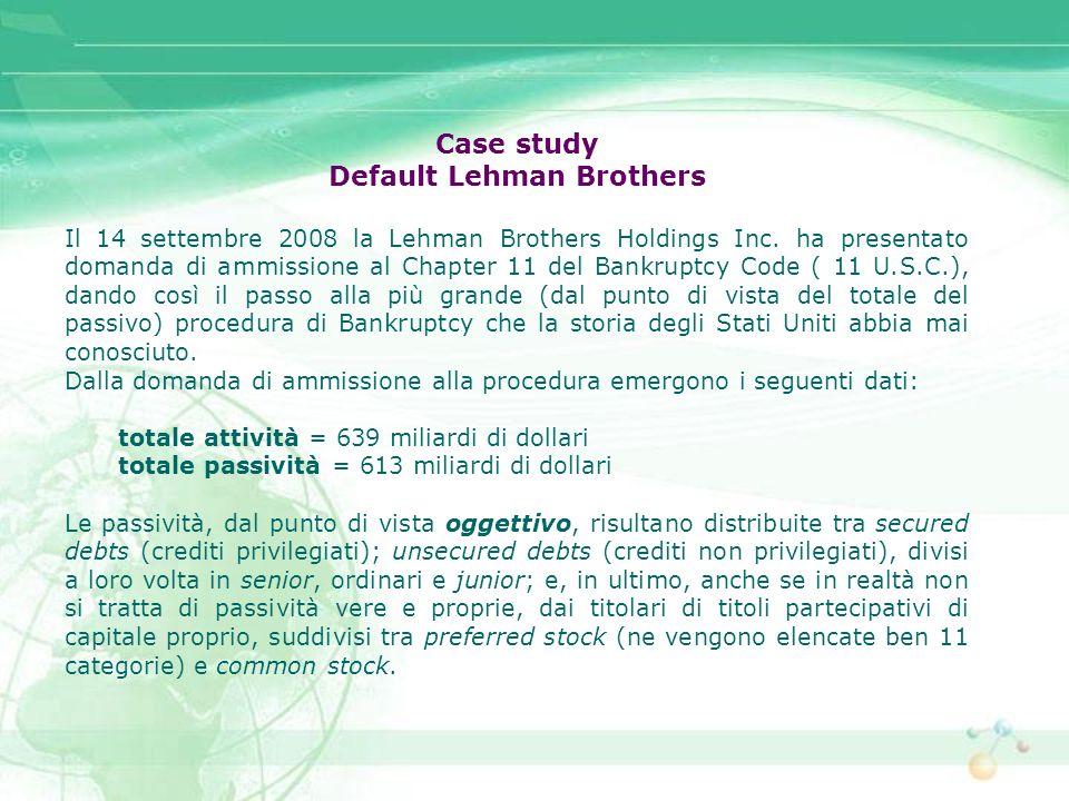 Case study Default Lehman Brothers Il 14 settembre 2008 la Lehman Brothers Holdings Inc. ha presentato domanda di ammissione al Chapter 11 del Bankrup