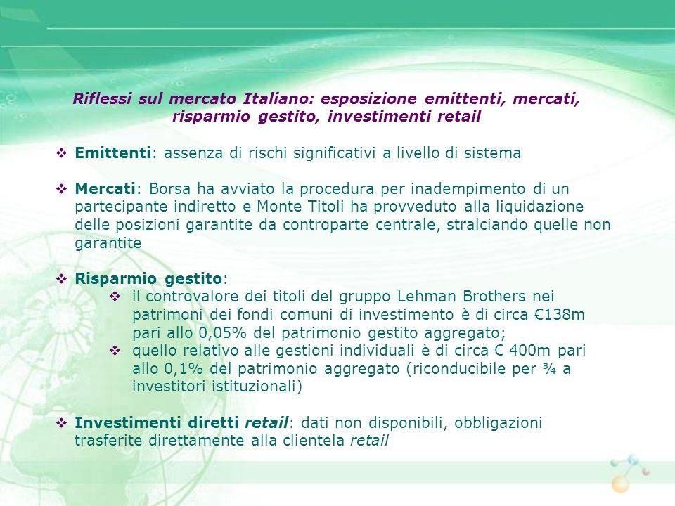 Riflessi sul mercato Italiano: esposizione emittenti, mercati, risparmio gestito, investimenti retail Emittenti: assenza di rischi significativi a liv