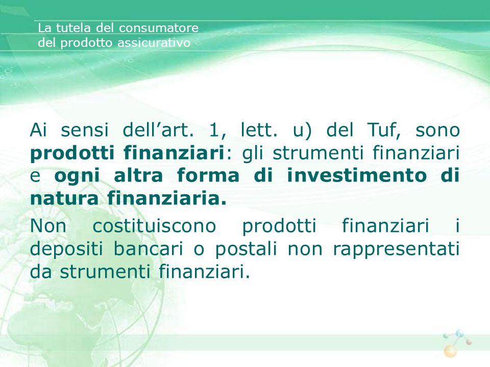 Ai sensi dellart. 1, lett. u) del Tuf, sono prodotti finanziari: gli strumenti finanziari e ogni altra forma di investimento di natura finanziaria. No