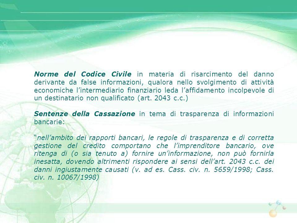 Norme del Codice Civile in materia di risarcimento del danno derivante da false informazioni, qualora nello svolgimento di attività economiche linterm