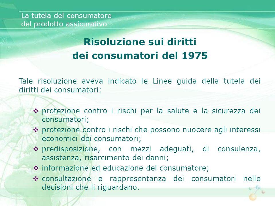 La tutela del consumatore del prodotto assicurativo Risoluzione sui diritti dei consumatori del 1975 Tale risoluzione aveva indicato le Linee guida de