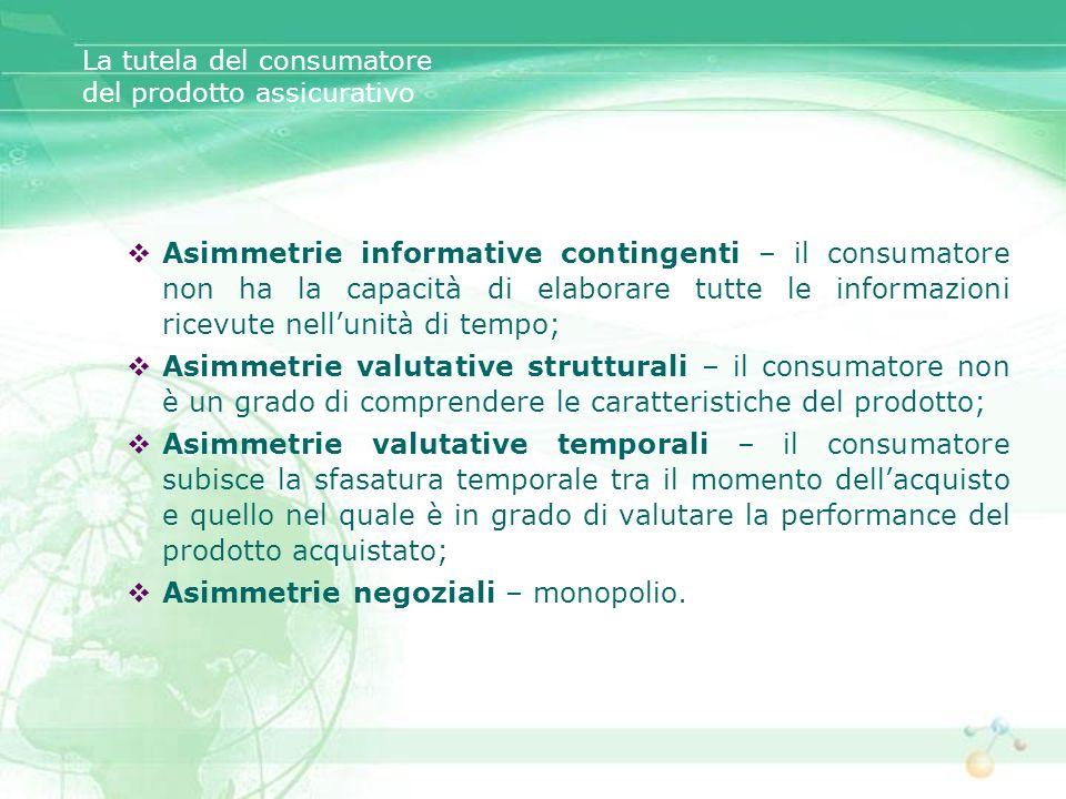 La tutela del consumatore del prodotto assicurativo Asimmetrie informative contingenti – il consumatore non ha la capacità di elaborare tutte le infor