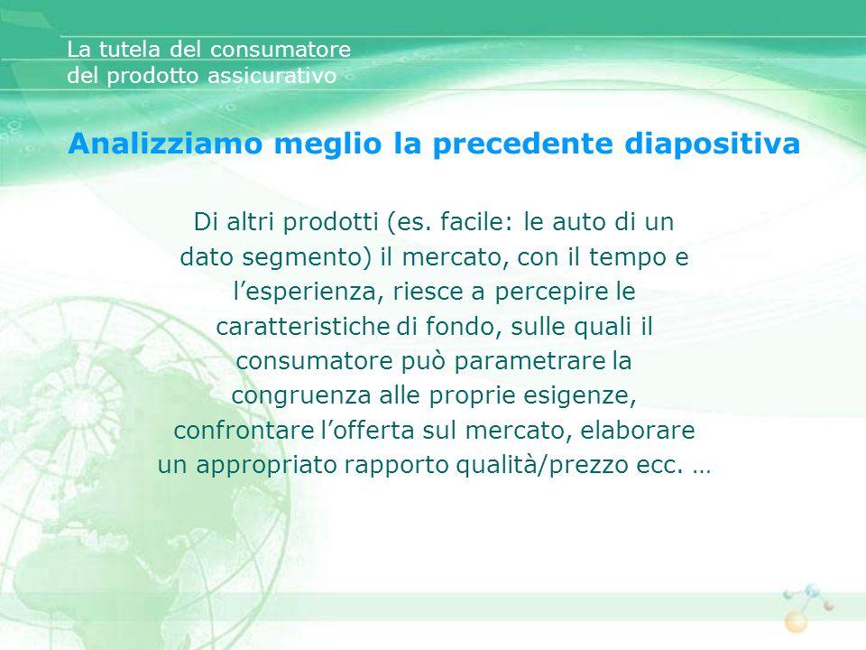 La tutela del consumatore del prodotto assicurativo Analizziamo meglio la precedente diapositiva Di altri prodotti (es. facile: le auto di un dato seg