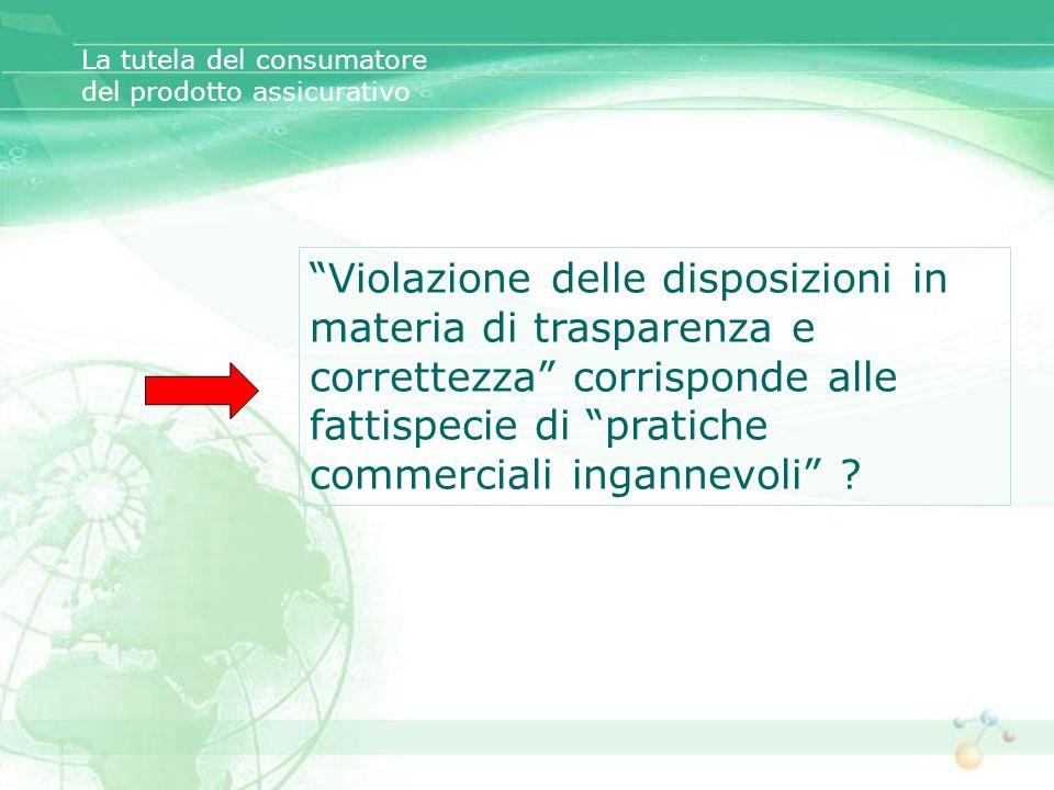 La tutela del consumatore del prodotto assicurativo Violazione delle disposizioni in materia di trasparenza e correttezza corrisponde alle fattispecie