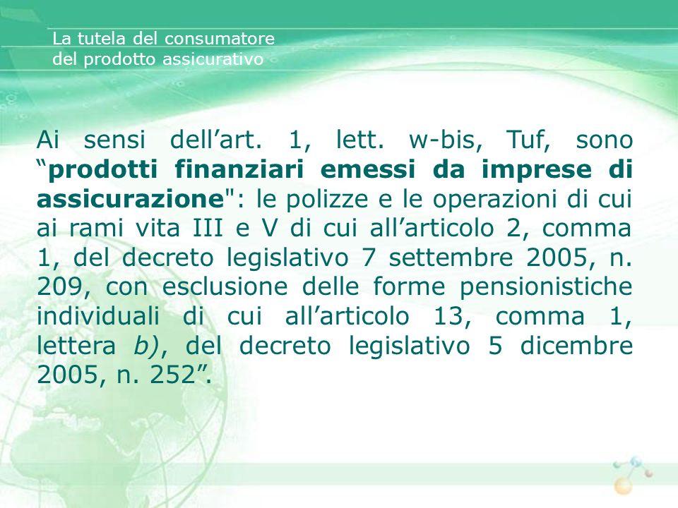 Ai sensi dellart. 1, lett. w-bis, Tuf, sonoprodotti finanziari emessi da imprese di assicurazione