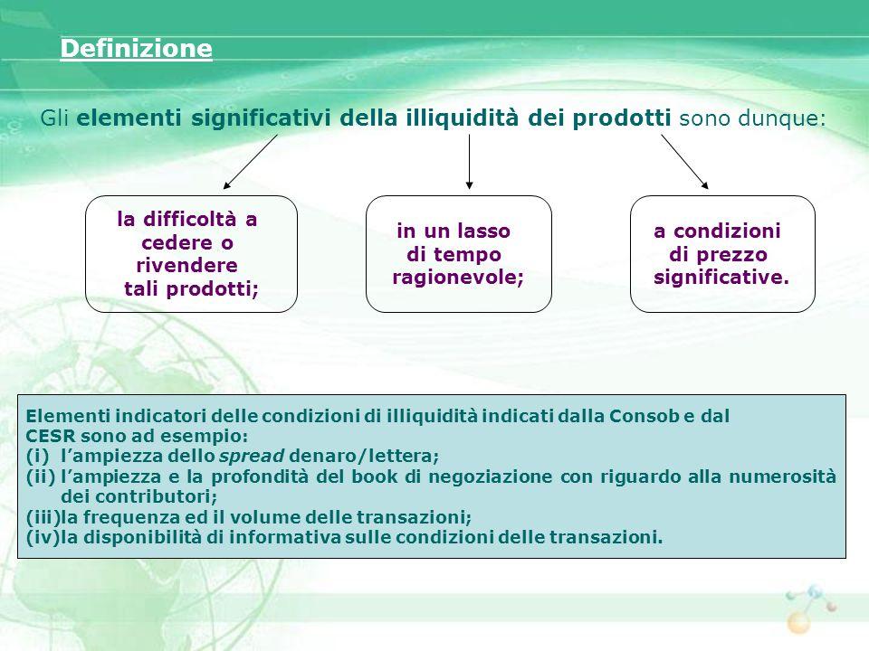 Gli elementi significativi della illiquidità dei prodotti sono dunque: la difficoltà a cedere o rivendere tali prodotti; in un lasso di tempo ragionev