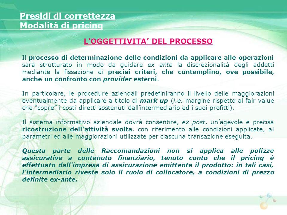 LOGGETTIVITA DEL PROCESSO Il processo di determinazione delle condizioni da applicare alle operazioni sarà strutturato in modo da guidare ex ante la d