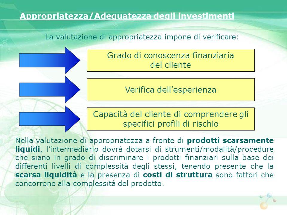 La valutazione di appropriatezza impone di verificare: Appropriatezza/Adeguatezza degli investimenti Grado di conoscenza finanziaria del cliente Verif