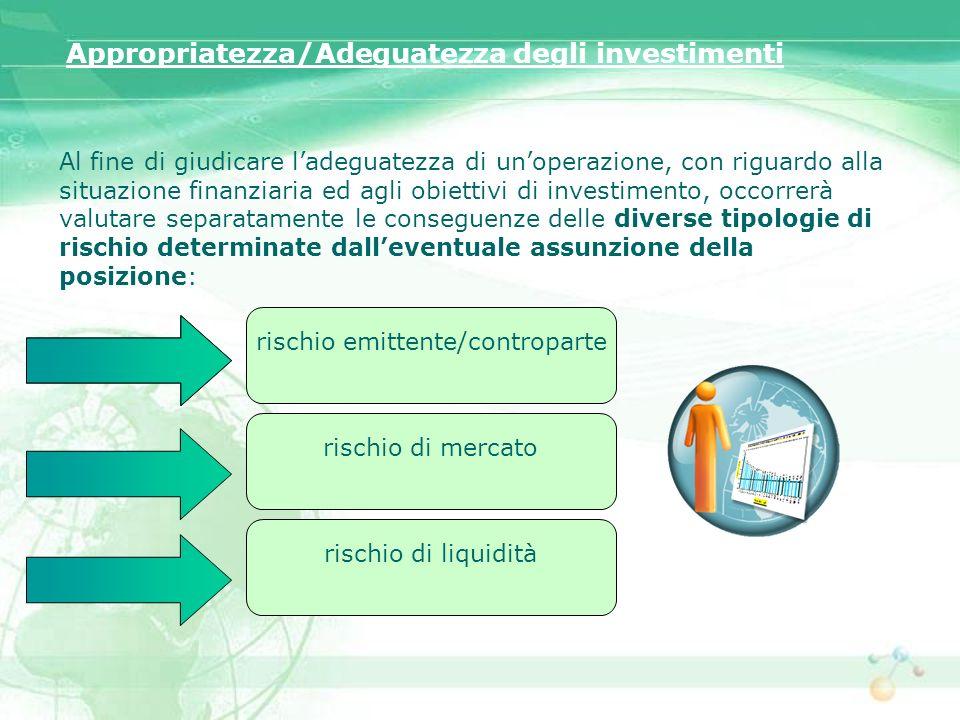 Appropriatezza/Adeguatezza degli investimenti Al fine di giudicare ladeguatezza di unoperazione, con riguardo alla situazione finanziaria ed agli obie