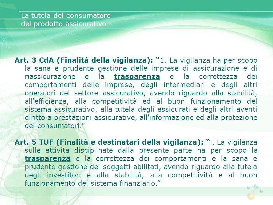 Art. 3 CdA (Finalità della vigilanza): 1. La vigilanza ha per scopo la sana e prudente gestione delle imprese di assicurazione e di riassicurazione e