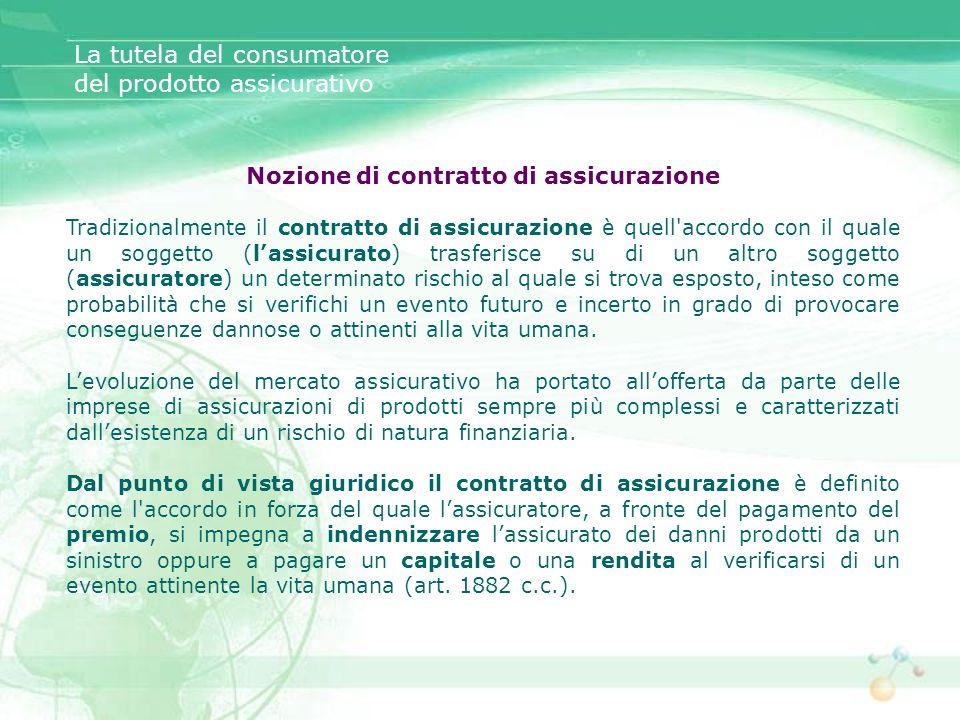 Nozione di contratto di assicurazione Tradizionalmente il contratto di assicurazione è quell'accordo con il quale un soggetto (lassicurato) trasferisc