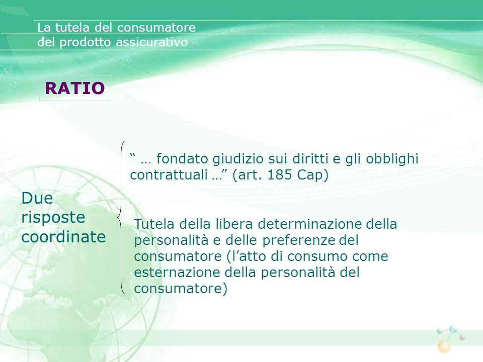 La tutela del consumatore del prodotto assicurativo RATIO … fondato giudizio sui diritti e gli obblighi contrattuali … (art. 185 Cap) Tutela della lib