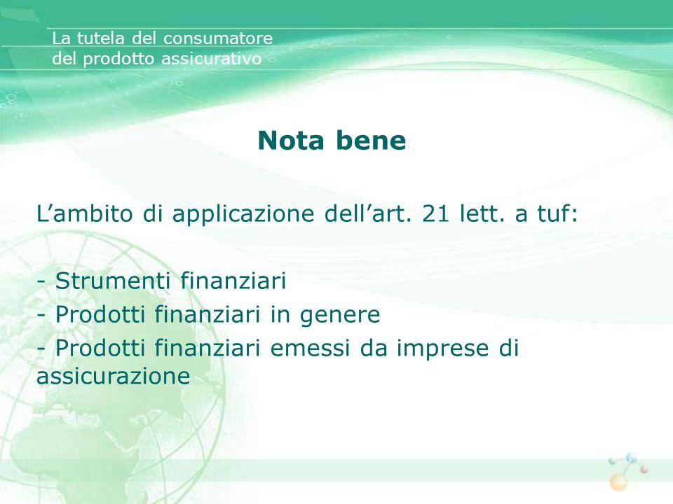 Nota bene Lambito di applicazione dellart. 21 lett. a tuf: - Strumenti finanziari - Prodotti finanziari in genere - Prodotti finanziari emessi da impr