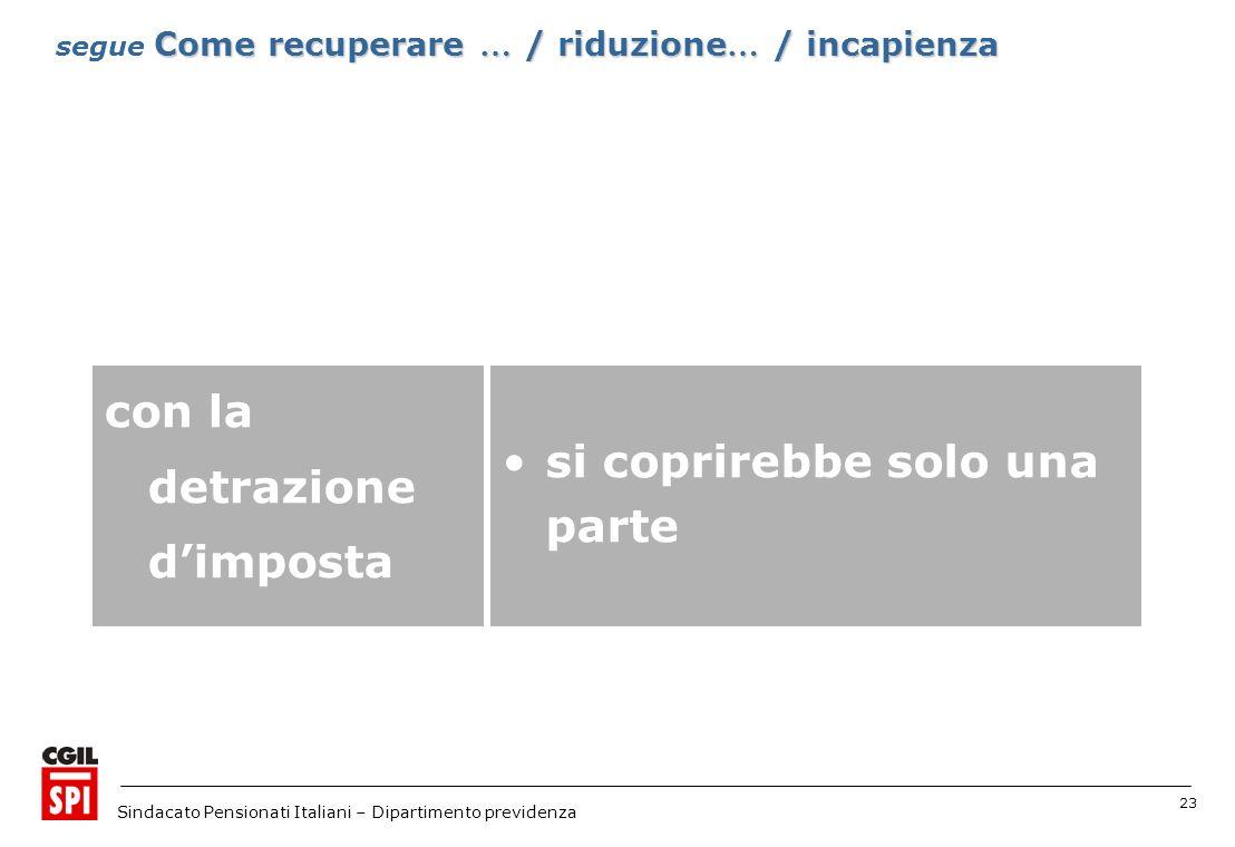 23 Sindacato Pensionati Italiani – Dipartimento previdenza si coprirebbe solo una parte con la detrazione dimposta Come recuperare … / riduzione … / incapienza segue Come recuperare … / riduzione … / incapienza