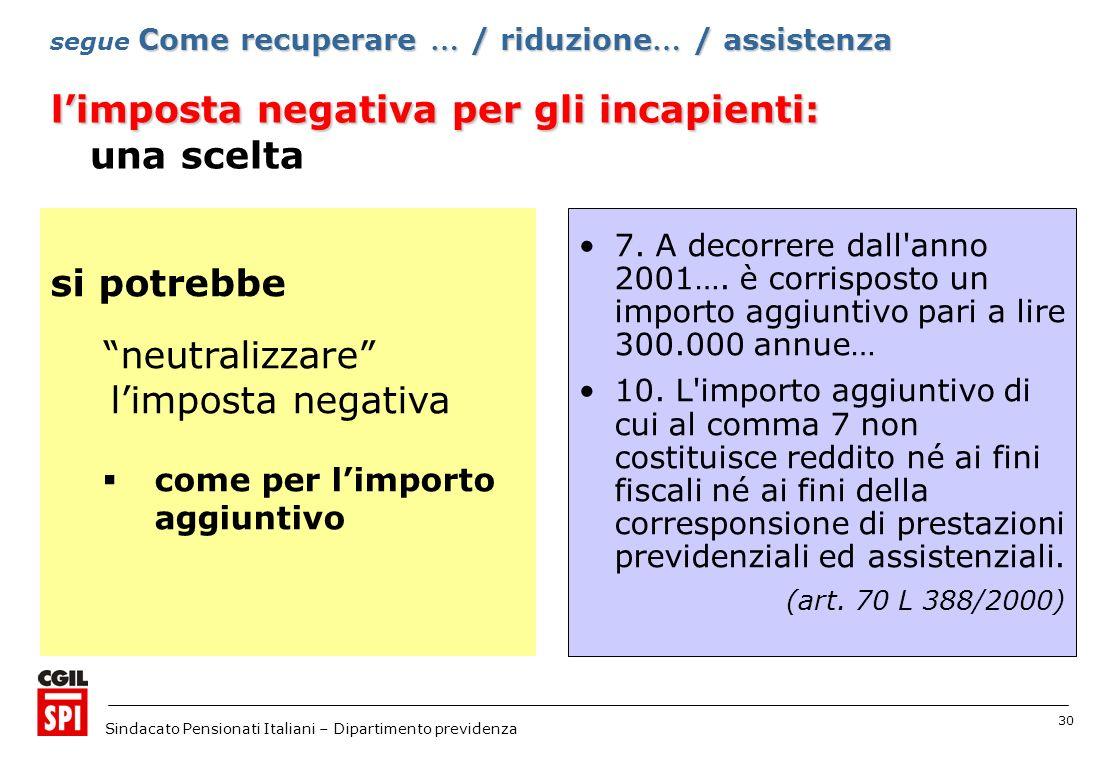 30 Sindacato Pensionati Italiani – Dipartimento previdenza 7.