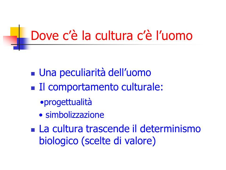 Dove cè la cultura cè luomo Una peculiarità delluomo Il comportamento culturale: progettualità simbolizzazione La cultura trascende il determinismo biologico (scelte di valore)
